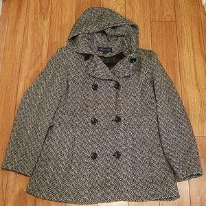 Anne Klein Hooded Winter Dress Coat Large